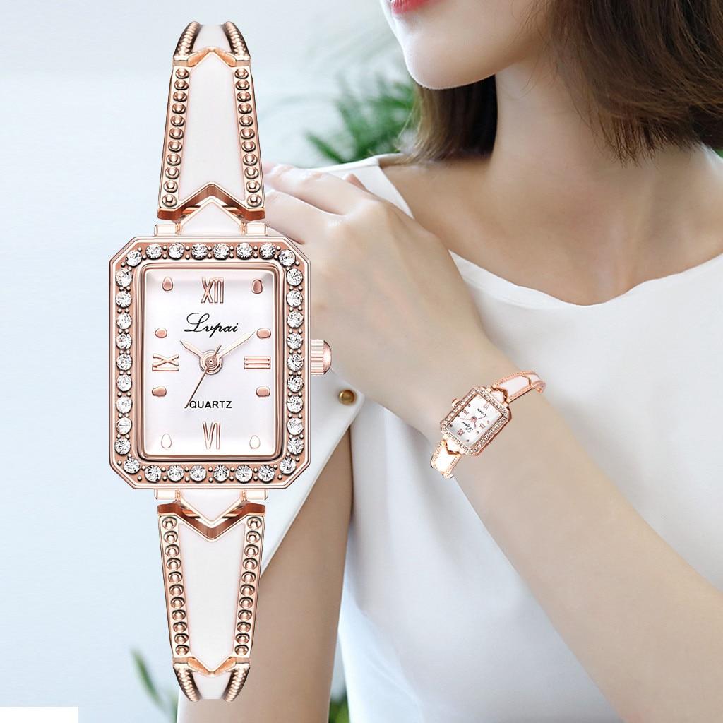 Women Fashion Men Quartz Watch LVPAI Women Bracelet Watches Square Luxury Crystal Alloy WristWatch Clock Reloj Dropshiping 2019