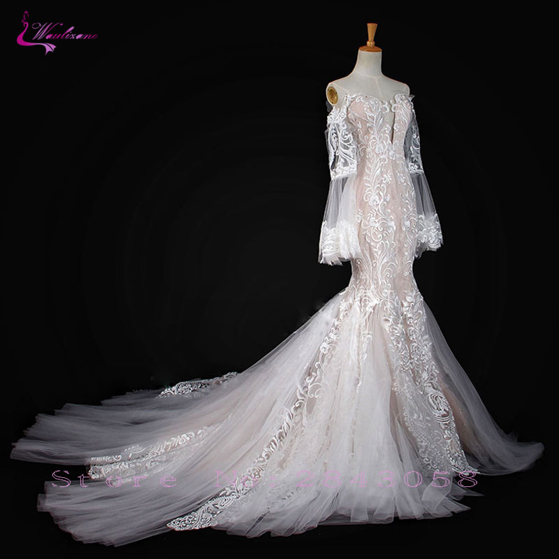 Waulizane Sparkly Elegant Lace Mermaid Wedding Dress With Button Closure Long Sleeves Off The Shoulder Bridal