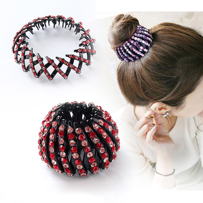 1PC New Fashion Women Round All Crystal Luxury Elegant Hair Claws Ponytail Holder Hair Clips Meatball head Make Hair Accessories