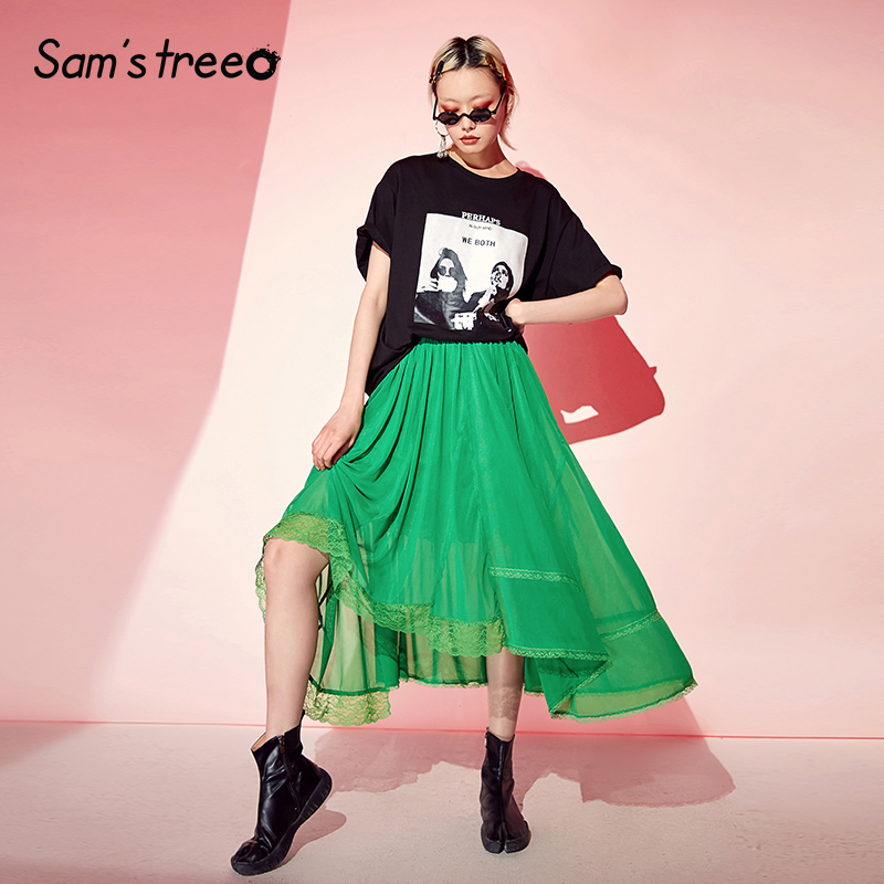 Samstree 緑のレースのパッチワーク女性のスカート 2019 夏ミッドウエストスカート女性のカジュアルなオフィスの女性メッシュプリーツスカート  グループ上の レディース衣服 からの スカート の中 2