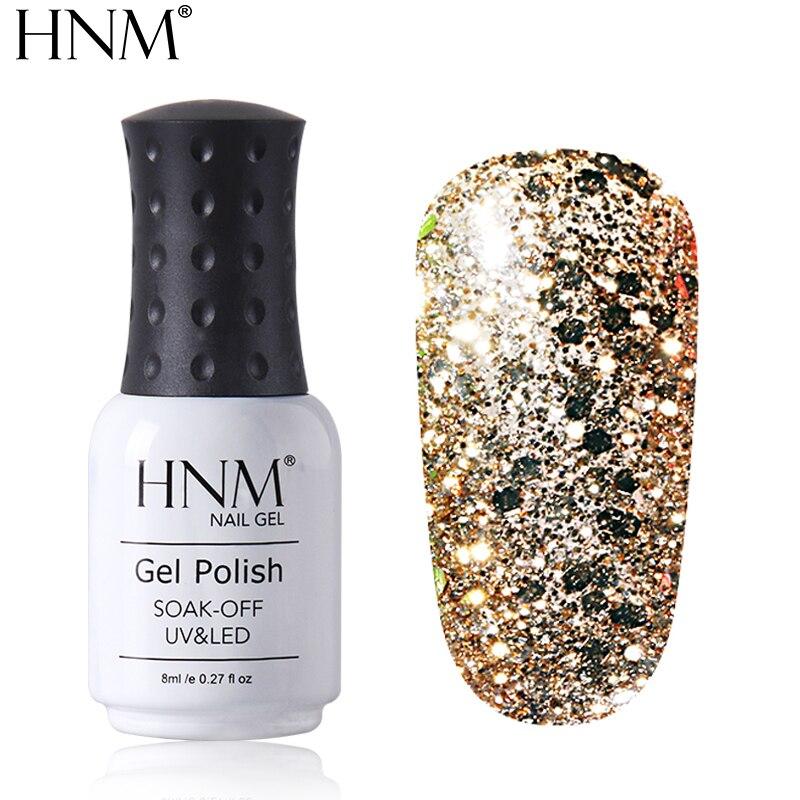 HNM 8ML Diamond UV LED Lamp Nail Gel Bling Glitter Paint Gellak Soak Off Semi Permanent Lucky Lacquer Enamel Gel Nail Polish Ink