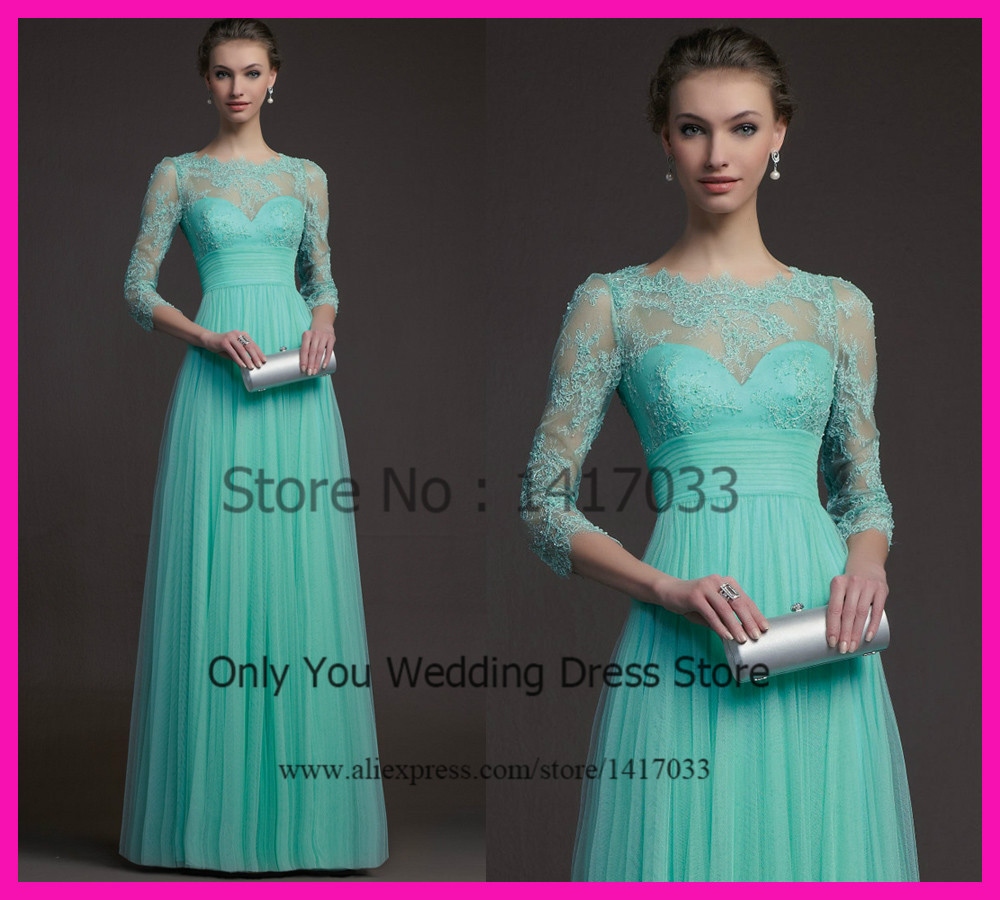 Turquoise bateau Long Sleeve Lace Prom Dress Online Dress Party ...