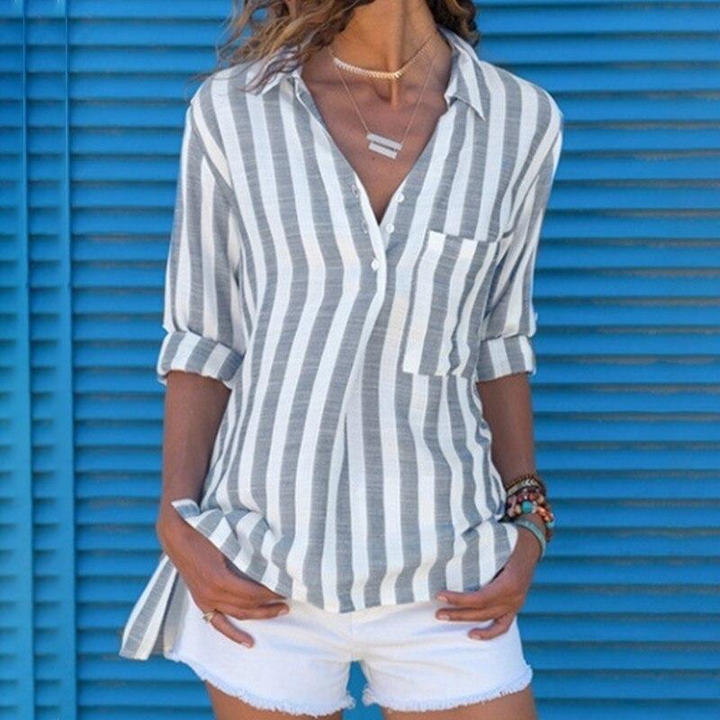 Women's Shirt Blouse Print Striped V-neck Long Sleeve Pocket Tops Female Shirts 2019 Summer Fashion Ladies Blouses Plus Size 5XL