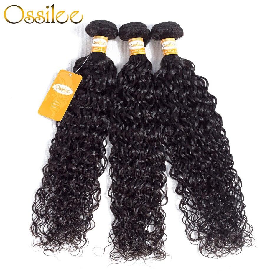 Ossilee Water Wave Bundles Brazilian Hair Weave Bundles Human Hair Bundles Natural Black Color NonRemy Hair Extentions 1/3/4Pcs
