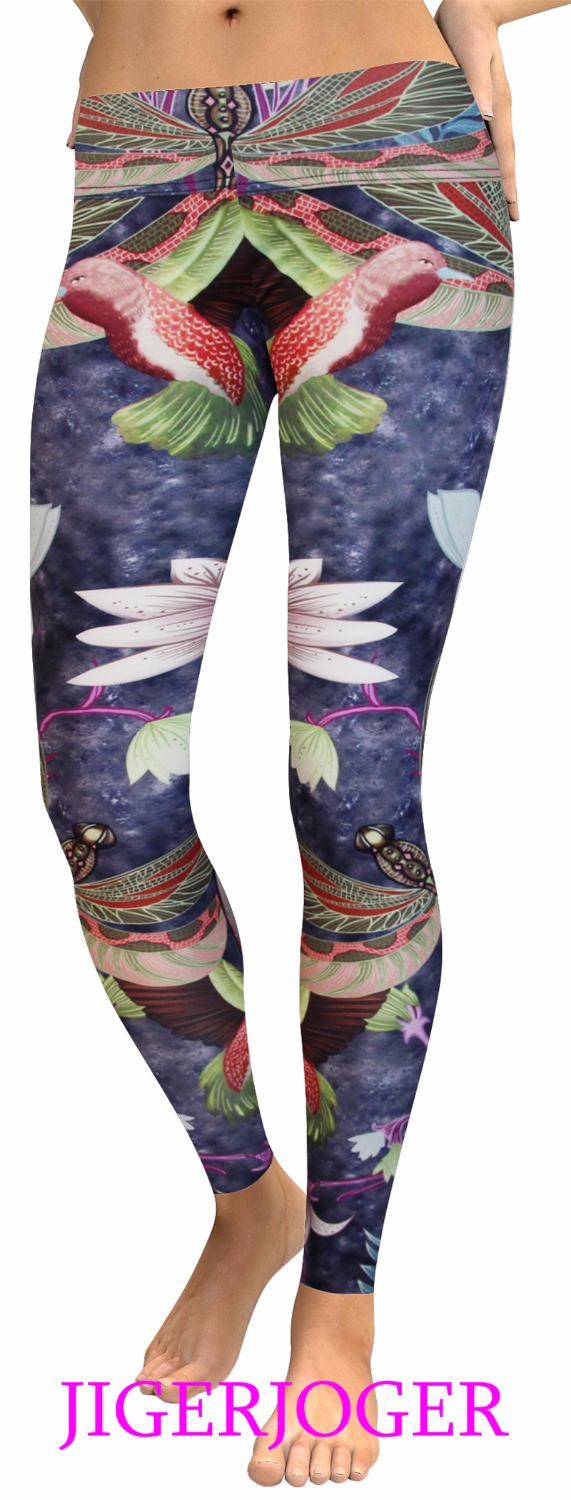 Wholesale Tights Manufacturers Jigerjoger Dark Purple Bird Dragonfly Lotus 3d Digital Printing Ladies Fitness Yoga Leggings Manufacturers Wholesale Plus Size In Yoga Pants From