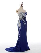 2016 Königsblau Lang Mermaid Sparkle Wulstige Kristalle Chiffon Formale Abendkleider Kleider Schatz Mädchen Prom Kleider