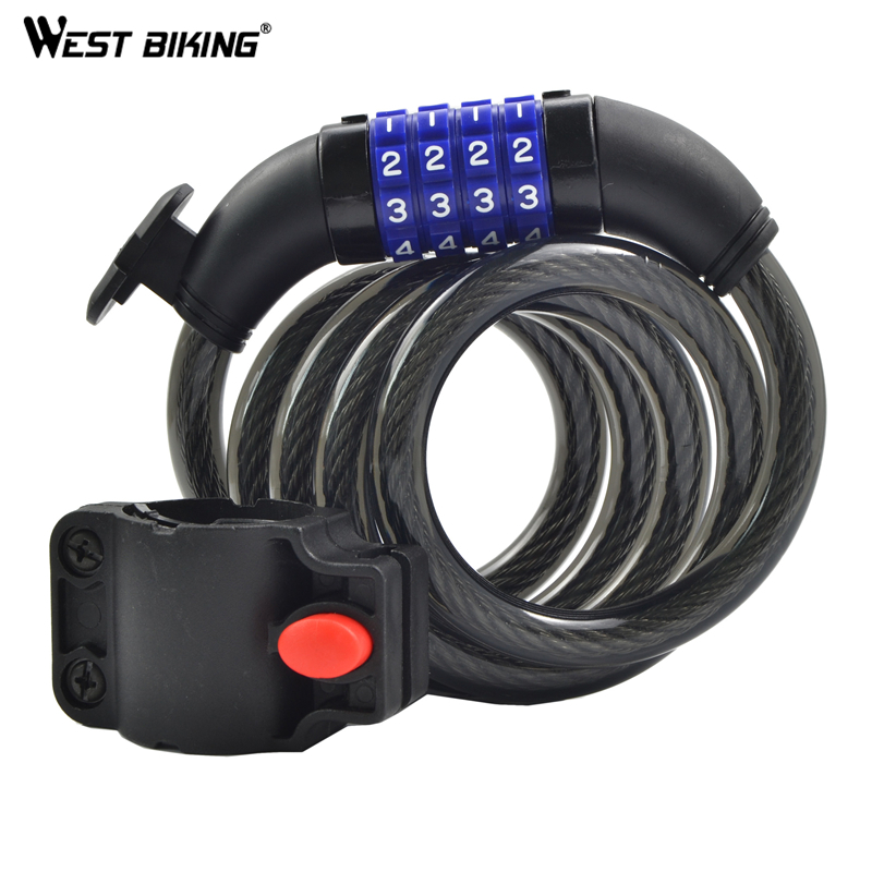 Cable Chain Anti-theft Coded Security 4 Digital Password Bicycle Lock Cycling