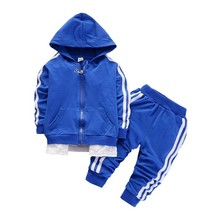 цена на Spring Autumn Baby Casual Tracksuit Children Boys Girls Zipper Hoodies Pants 2Pcs/Sets Fashion Kids Cotton Clothing Sport Sets