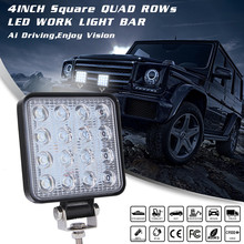 Car Accessories Single 48W Square Waterproof LED Work Light Flood Lamp For Offroad Truck Tractor Boat Bar Flood Beam