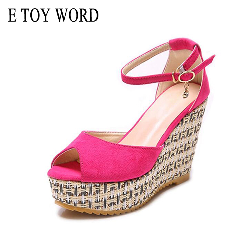 E TOY WORD Brand Summer Ankle Strap Sandals fashion sexy straw braid open-toe platform wedges female 12cm high heels sandals e toy word summer platform wedges women sandals antiskid high heels shoes string beads open toe female slippers
