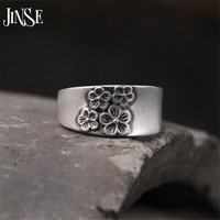 JINSE 999 Silver Rings Fashion Plum Blossom Carved Design 999 Sterling Silver Rings For Women Jewelry