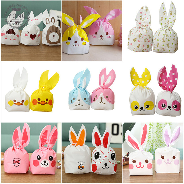 50pcs rabbit easter gift bags with handles plastic bag for biscuits 50pcs rabbit easter gift bags with handles plastic bag for biscuits christmas cookie bag wedding candy negle Image collections