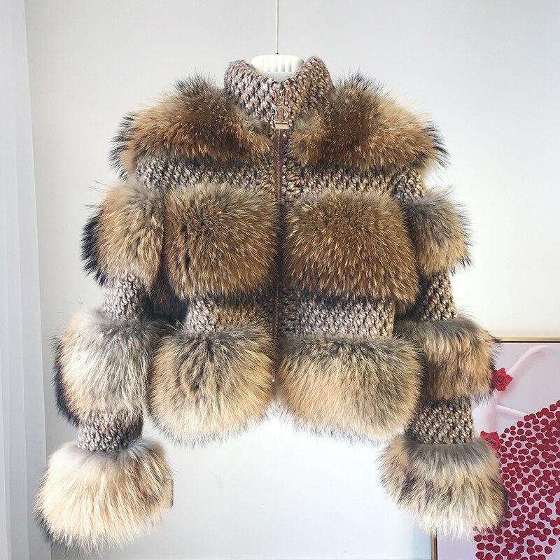 Real Raccoon Fur Warm Jacket Women 2018 Winter New Famous Blogger Lady Natural Raccoon Bomber With Woollen Overcoat Fur Coat