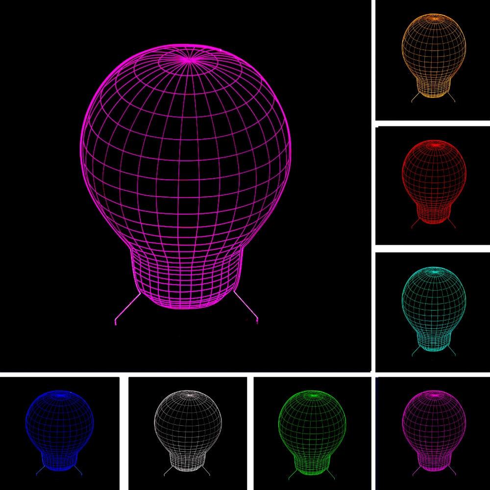 3D Fashion գնդաձև լամպ գիշերային լույս LED 7 գունավոր գրադիենտ պատրանք Տեսողական ստեղծագործական երեխա Երեխաներ քնած խաղալիք Ծննդյան երեկույթներ նվերներ