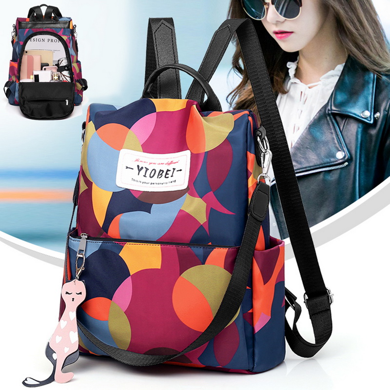 HIFUAR 2019 New Women's Anti-theft Backpack Fashion Simple Solid Color School Bag Oxford Cloth Shoulder Bag