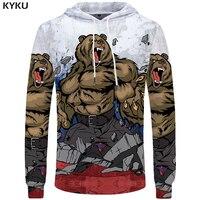 KYKU Bear Sweatshirts Russia 3d Hoodie Arctic Sweatshirts Male Winter 3d Hoodies Hoodie Men 3d Print