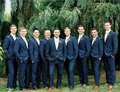2016 Custom Made Handmade Navy Blue Men's Wedding Suits Groom Suits Bridal Tuxedos Formal Occasion Party Suits