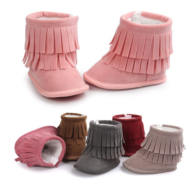 2017 Kids Baby Girls Warm Winter Shoes Boots Newborn Toddler Infant Keep Warm Fringe Booties Prewalker Shoes Bebe Warming Boots