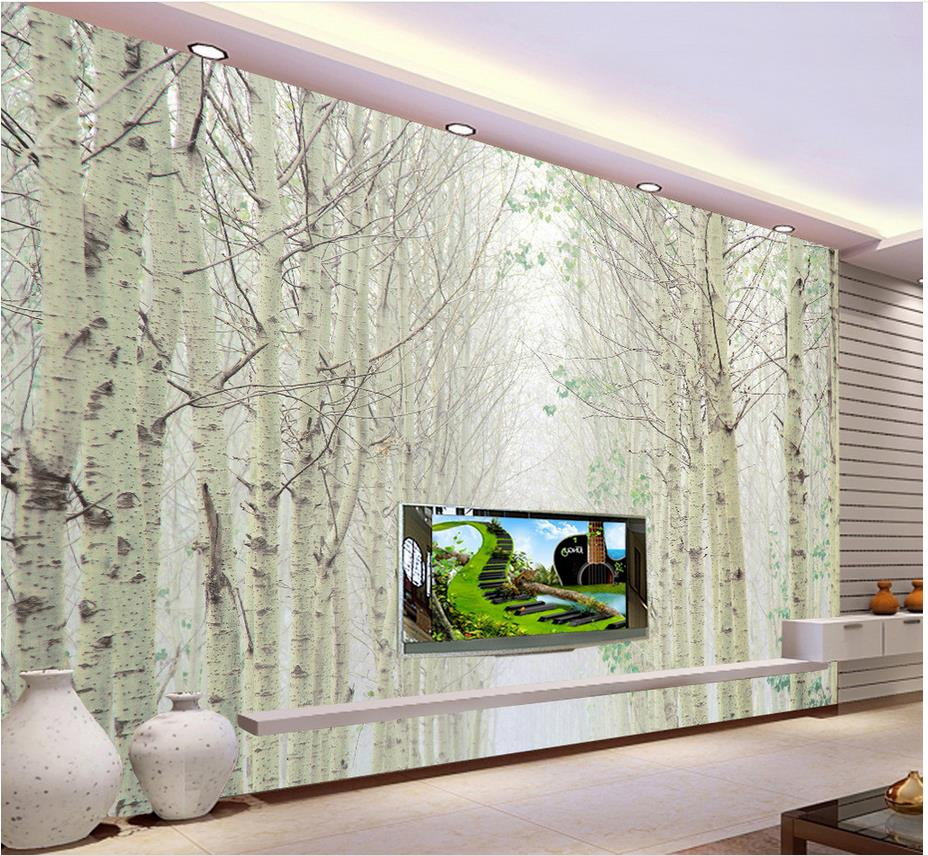 Personnalis 3d papier peint blanc bouleau for t paysage for Carta da parati effetto murales