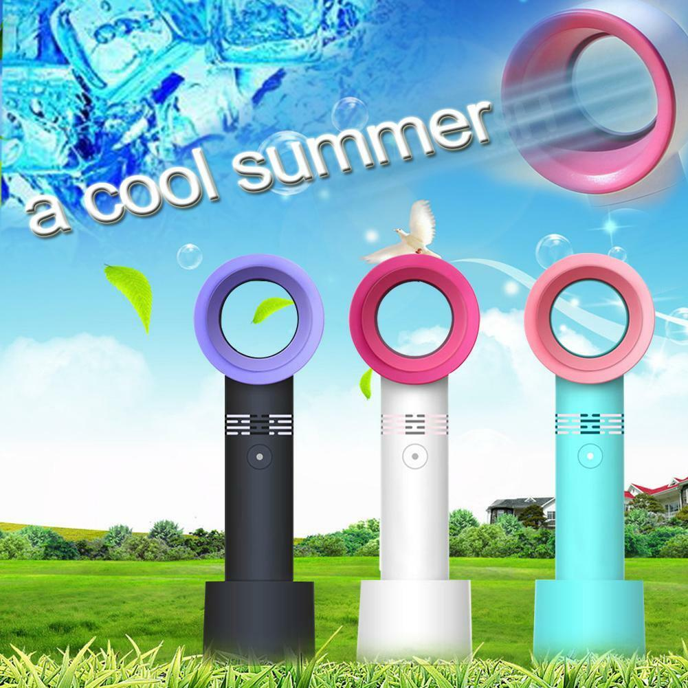 Mini USB Cable No Leaf Handy Fan 360° Mute Portable Bladeless Hand Held Cooler Office Classroom Fan
