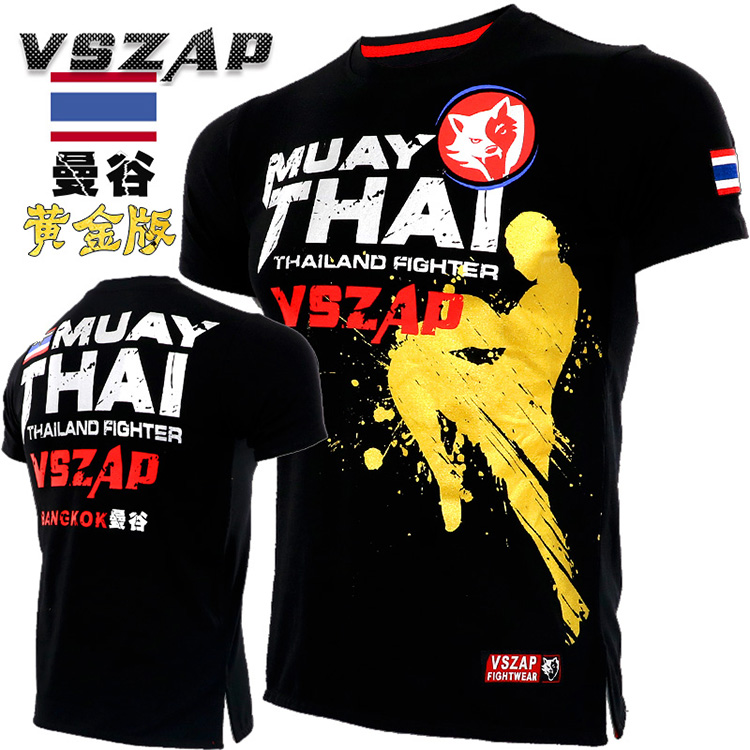 VSZAP Fighting Fight Sports MMA Short Sleeved T Shirt Wulin Wind Muaythai Broadcast For  Fitness Male Muscle Training Clothes