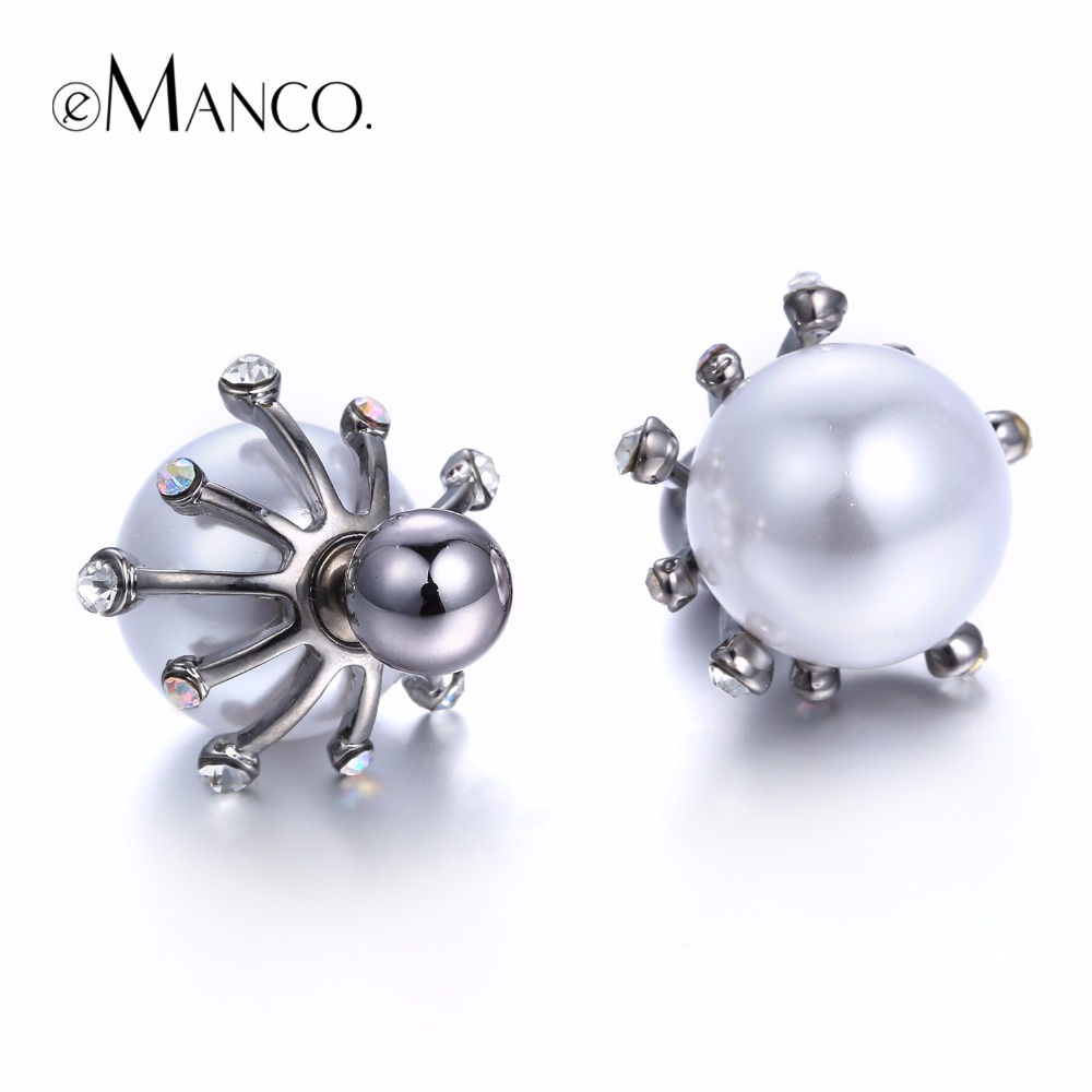 eManco Classic Romantic Flower Double Sides Statement Stud Earrings for Women Imitation Pearl Rhinestone Accessories Jewelry pair of stylish rhinestone angle wings stud earrings for women