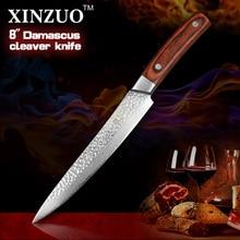 "XINZUO 8 "" cleaver knife 67 layers Japanese Damascus kitchen knife kithcen too senior Sashimi knife wood handle free shipping"