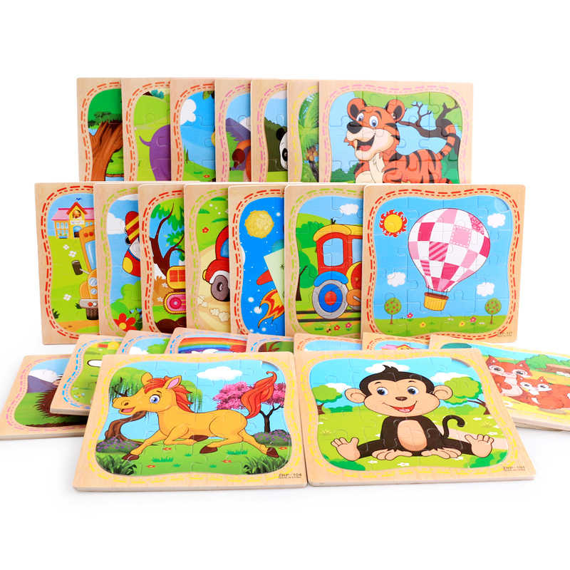 Montessori Toys Educational Wooden Toys for Children Early Learning 3D Cartoon Puzzle Kids Exercise Math Match Teaching Aids