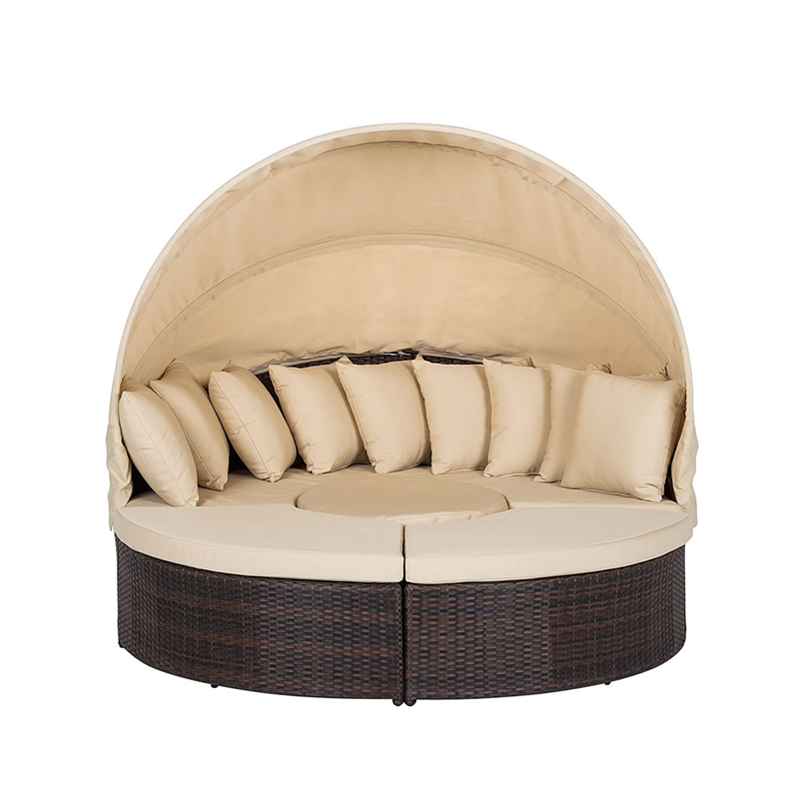 factory outlets home leisure wicker round shaped sunbed sunshade outdoor patio sofa single bed