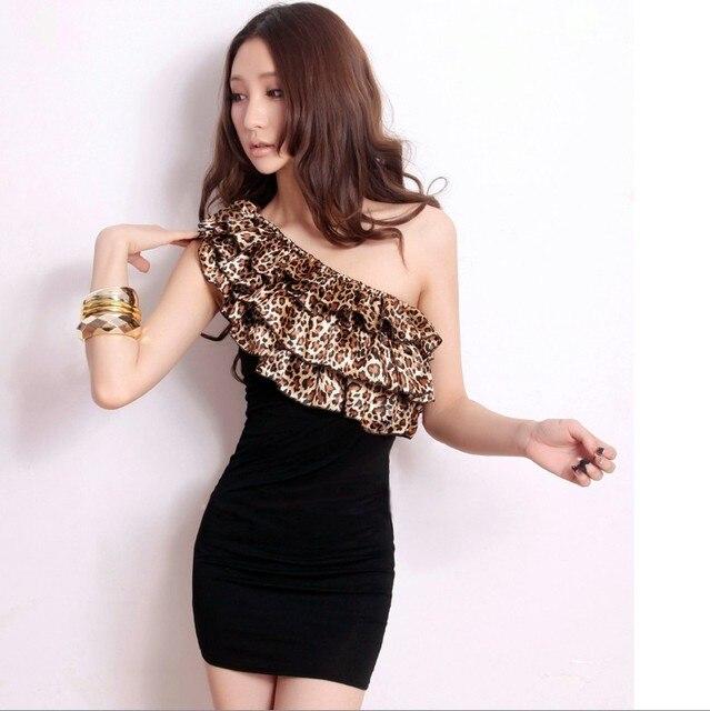 rüschen schlank leopardenmuster kurzen Sexy top kleid rohr oberrohr qUpSzMV