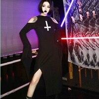 Gothic Long Dress Women Black Flare Sleeve Cross Sexy Dress Girl Female Long Sleeve Harajuku Punk Casual Dress Vestido