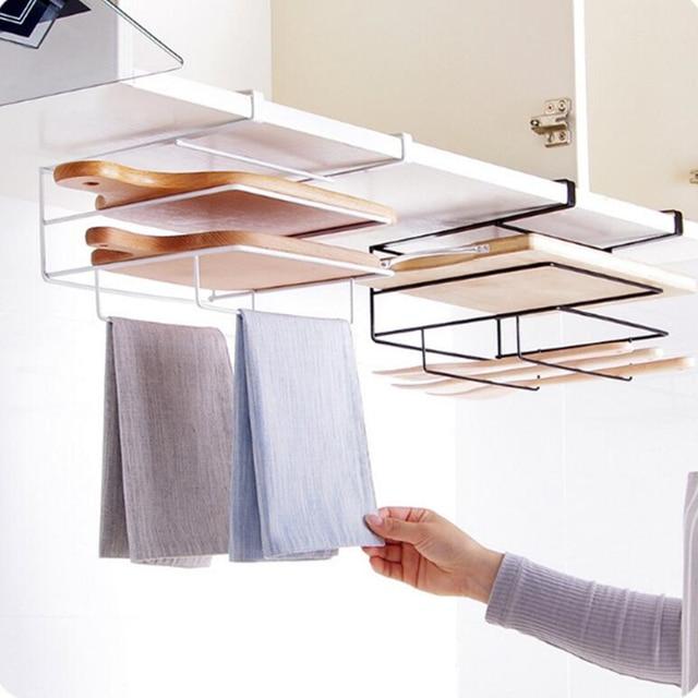 Kitchen Organizer Rack Over Door Hook Hanger Cutting Board Holder Stand Storage