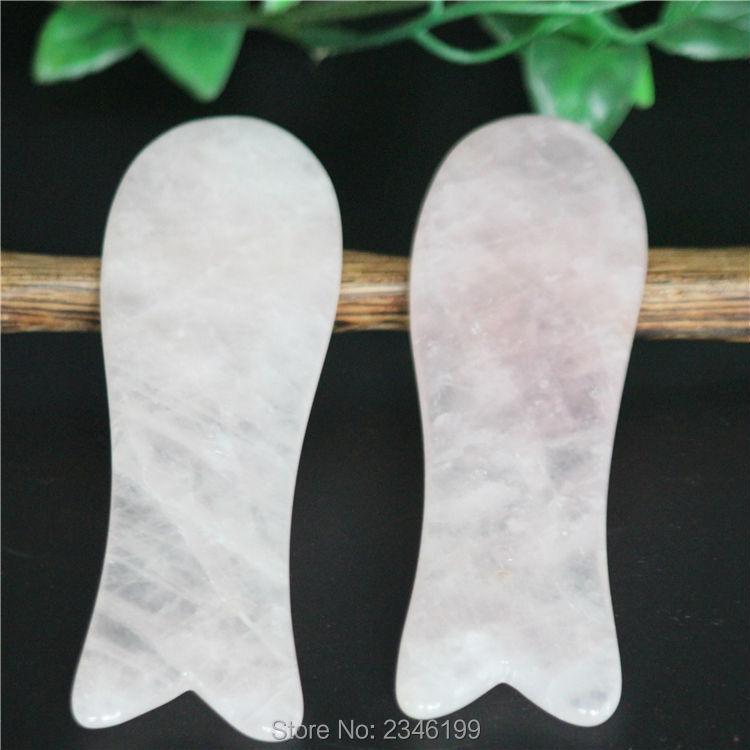 5pcs High Grade Pink Fish Shape Natural Facial Gua Sha Jade Stone Guasha Board Scrape Therapy SPA Massage Tools Free Shipping