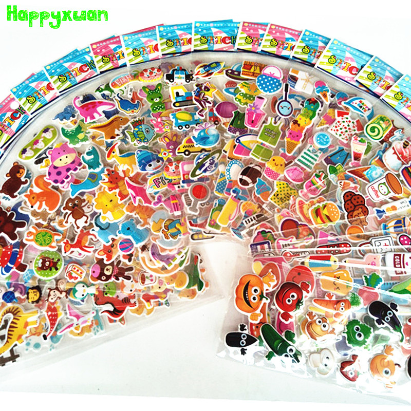 Happyxuan 24 sheets Kids Cute 3D Animals Cartoon Stickers Mixed Dress Up School Teacher Reward Children Early Learning Toys 6 sheets lot 3d puffy bubble stickers mixed cartoon kawaii stickers toys dress up girl changing clothes kids toys for children