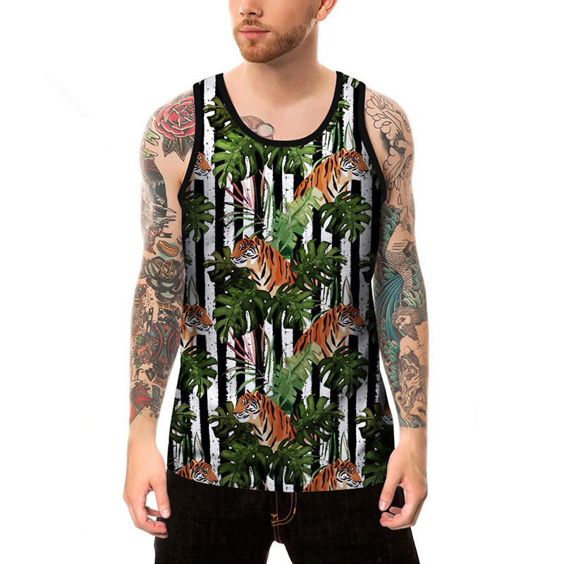 Men Summer Slim Fit Hip Hop Cotton Casual Printed Tiger New Beach   Tank     Tops   Men O Neck Quick Dry Undershirt Sleeveless Singlets