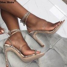 MONMOIRA encaje hasta Cruz-Lazo de tacón alto sandalias de gladiador mujeres  Sexy serpiente PVC transparente sandalias partido z. c0f2a2440b48
