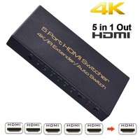 Mini Auto Switch HDMI Switcher 4K HD1080P 5 Port HDMI Switch Selector Splitter With Hub IR Remote Controller For HDTV DVD TV BOX