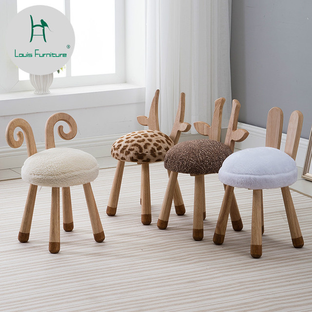 Louis Fashion Children S Stools Modern Nordic Solid Wood Creative Furniture Baby Chair Washable Cute Dwarf