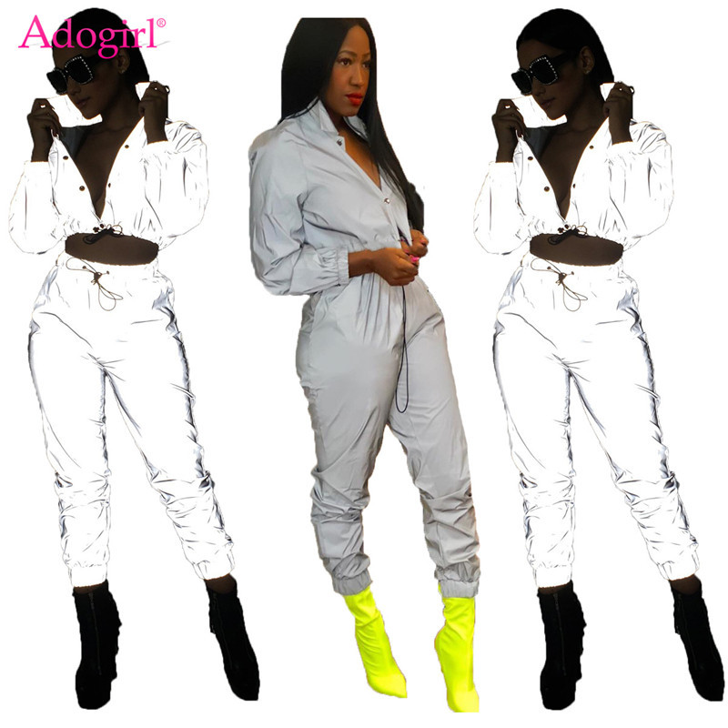 Adogirl Women Sexy Reflective Tracksuit Night Version Buttons Turn Down Collar Long Sleeve Crop Top + Casual Pants Two Piece Set(China)