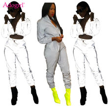 c6dc45b96f3 (Ship from US) Adogirl Women Sexy Reflective Tracksuit Night Version  Buttons Turn Down Collar Long Sleeve Crop Top + Casual Pants Two Piece Set