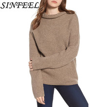 SINFEEL Turtleneck Sweater Women Pullover Knitted Sweaters Female 2018 Autumn Winter Fashion Long Sleeve Casual Oversize