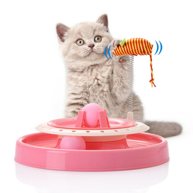 Pet Cat Supplies Interactive Toys Cat Double Turntable Pet Puzzle Play Track Spring Funny Cat Toy Plate gatos Toys Accessories