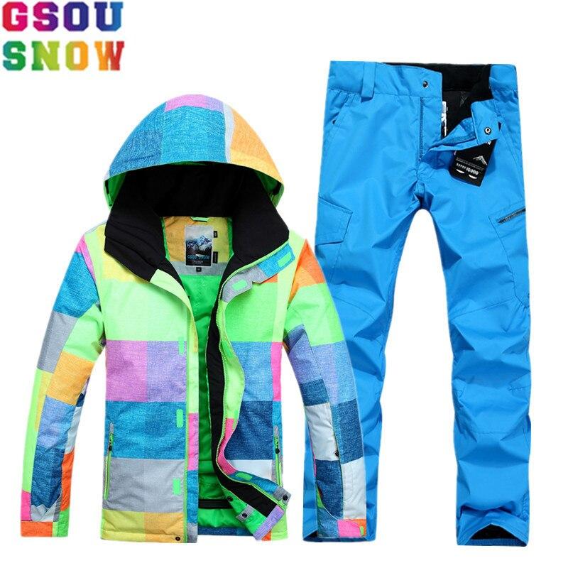 GSOU NEIGE Marque Ski Costume Hommes de Ski Veste Pantalon Imperméable Ski Costumes Snowboard Définit Hiver Sport En Plein Air Vêtements de Neige Manteaux