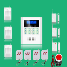 Free shipping Russian and English Voice LCD GSM and PSTN Home Security Alarm system Wireless and wired gsm alarm system