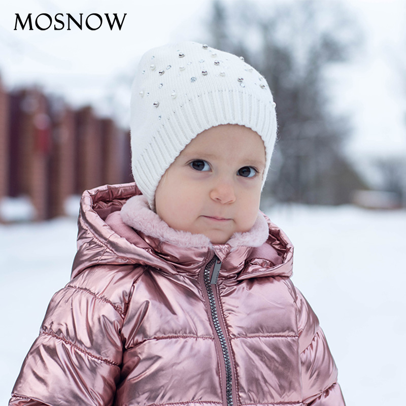 Cute Kids   Beanies   Wool Knitting Hats With Pearl And Rhinestone Child Crochet Cap Winter Warm Hats Baby Boy And Girls   Beanie   Cap