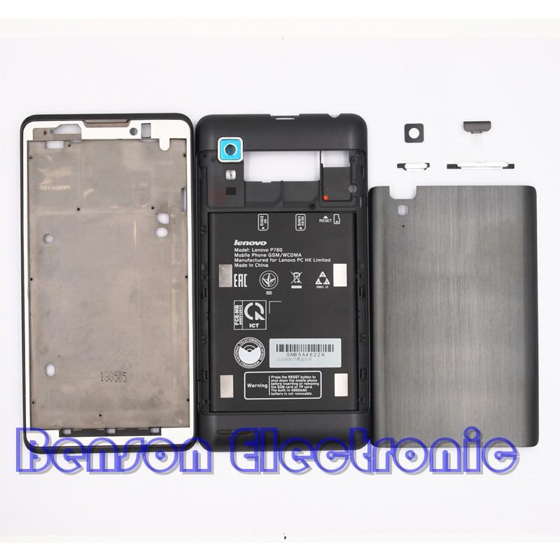 imágenes para BaanSam Nuevo LCD Marco Frontal tapa de La Batería Caja de La Batería vivienda de la contraportada para lenovo p780 case con el volumen de alimentación botones