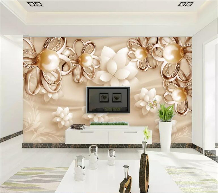 European Style Golden Pearl Flowers 3D Wallpaper Living Room TV Hotel Luxury Photo Wall Mural High Quality Interior Decor Fresco in Wallpapers from Home Improvement