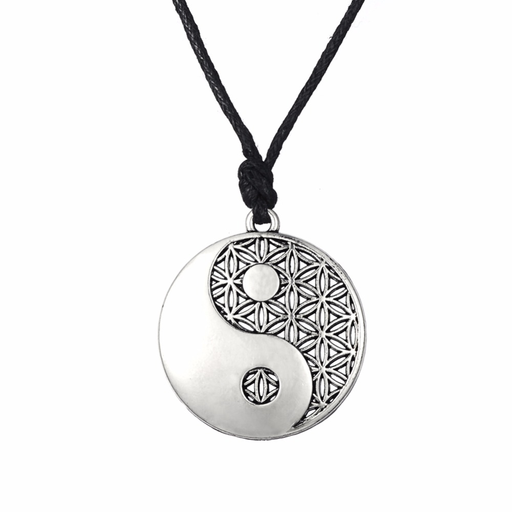 Lemegeton silvergold yin yang pendant taoist symbol of balance lemegeton silvergold yin yang pendant taoist symbol of balance jewelry adjustable rope chain necklaces for man woman geomancy in pendant necklaces from biocorpaavc