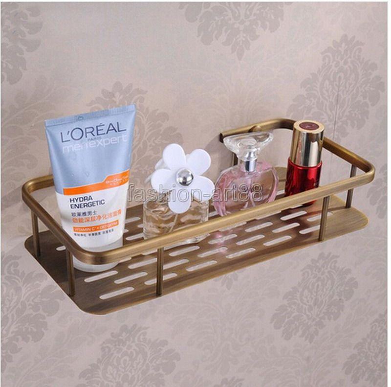 ФОТО Vintage Antique Brass Wall Mounted Bathroom Accessory Single Tier Soap / Sponge Corner Shower Storage Basket aba107