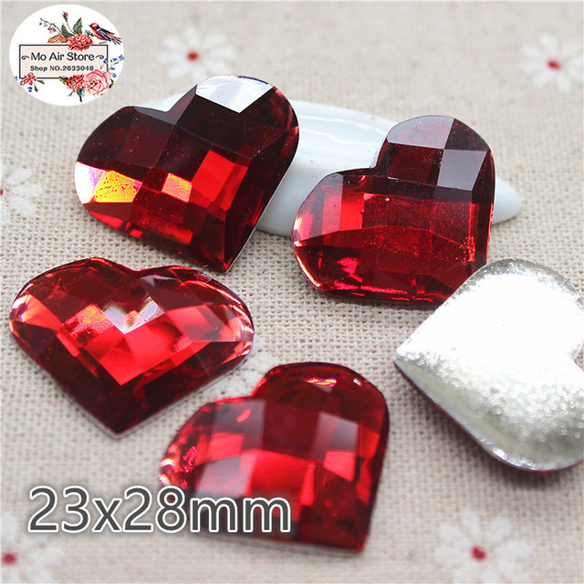 10pcs shiny red heart latticed Acrylic acrylic rhinestone Flat back  Cabochon Art Supply Decoration Charm Craft 7269a116b1d2